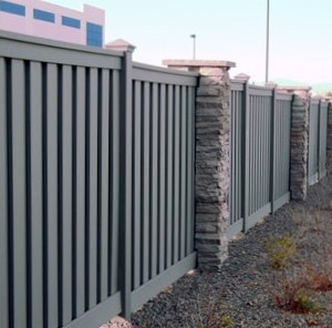Trex Seclusions Privacy Fence with Rock Pillars