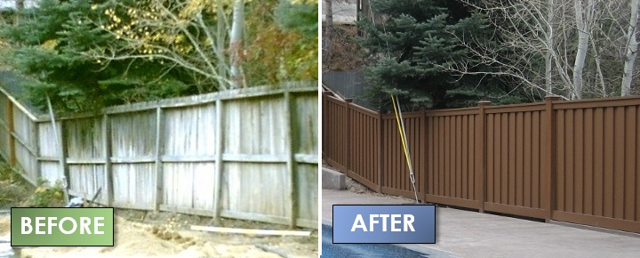 Wood Fence Alternative Trex Before & After