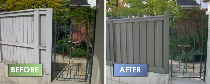 Pictures before and after installation of Trex Fence