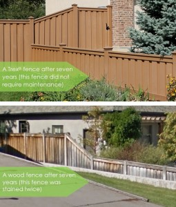 Seven Year Comparison Trex Fencing vs. Wood Fencing