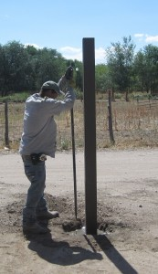 Installing a Trex fence post and setting it in concrete