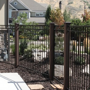 Trex Fence posts with ornamental gate
