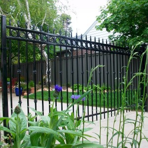 Ornamental Iron gate on Trex posts