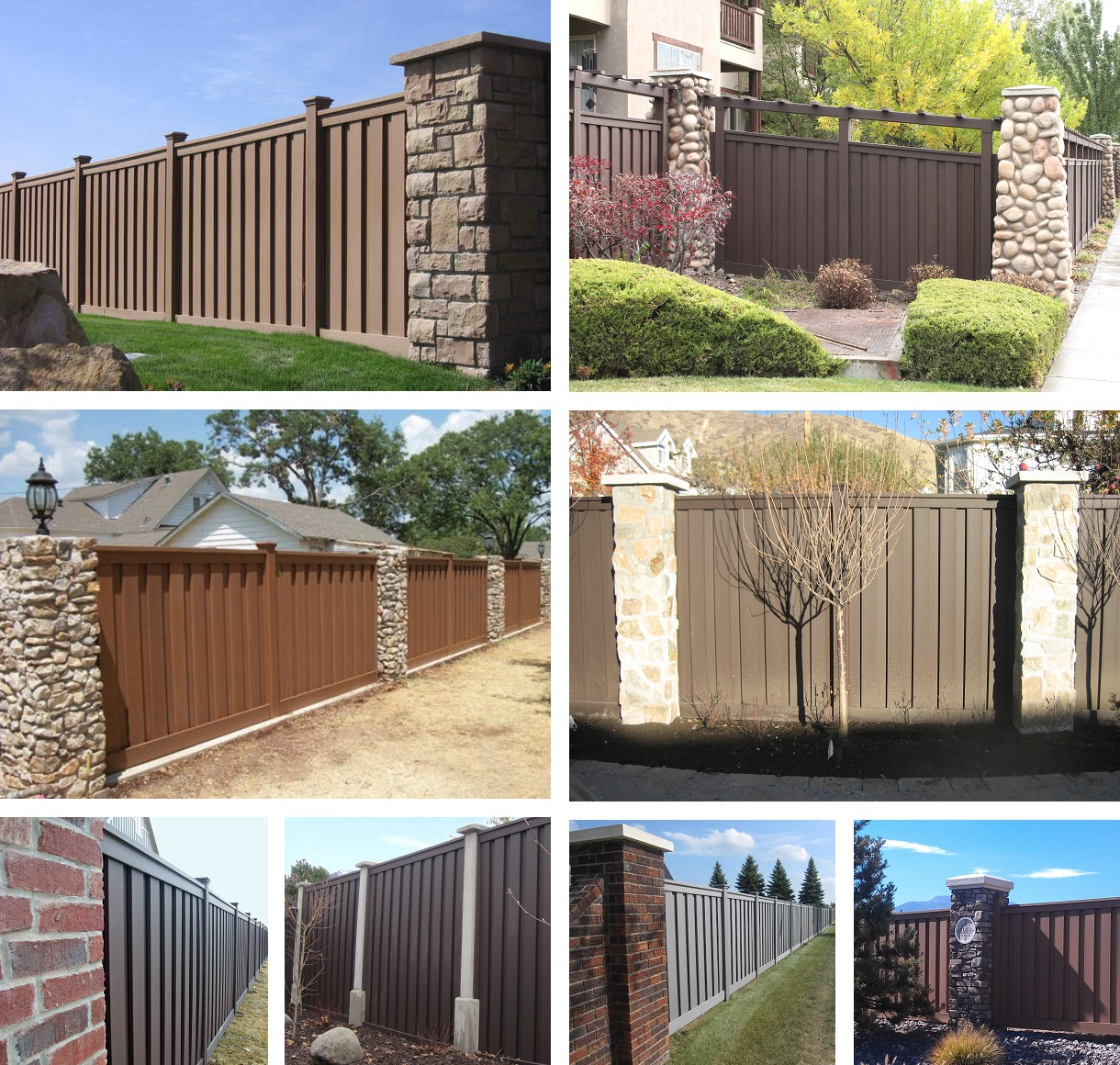 Trex fencing combined with masonry, brick, and stone