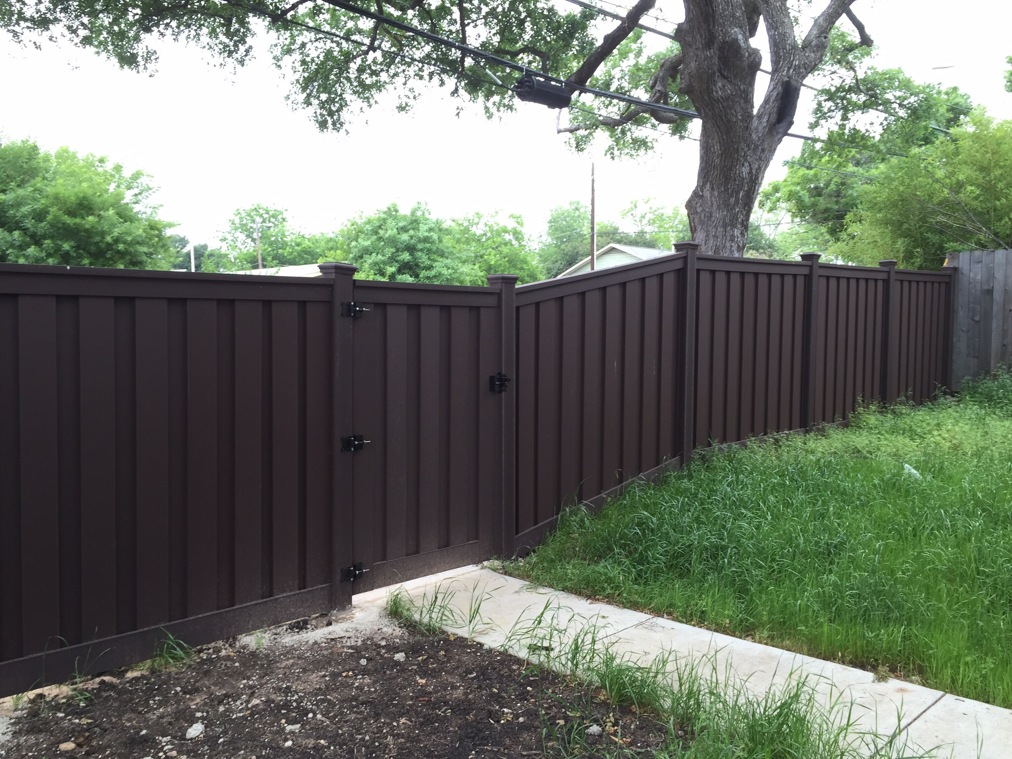 Installation By Austin Brothers Fence Company Dark Brown Color With Gate