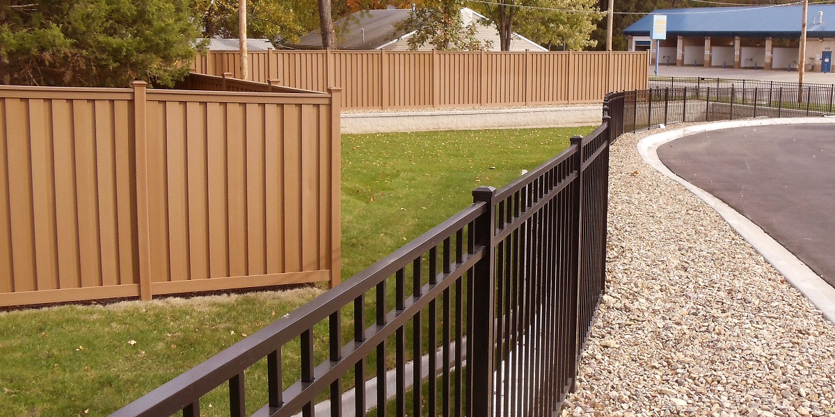 Trex fencing installed by Kent Fence for Walgreens in Topeka Kansas