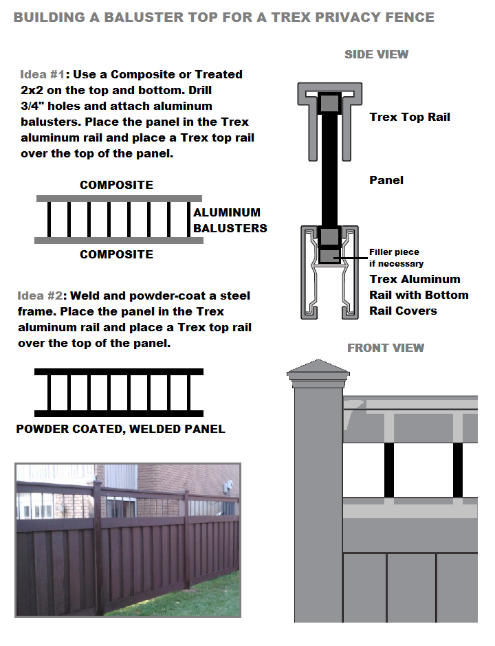 Trex Fence with open-top design using metal balusters for semi-privacy