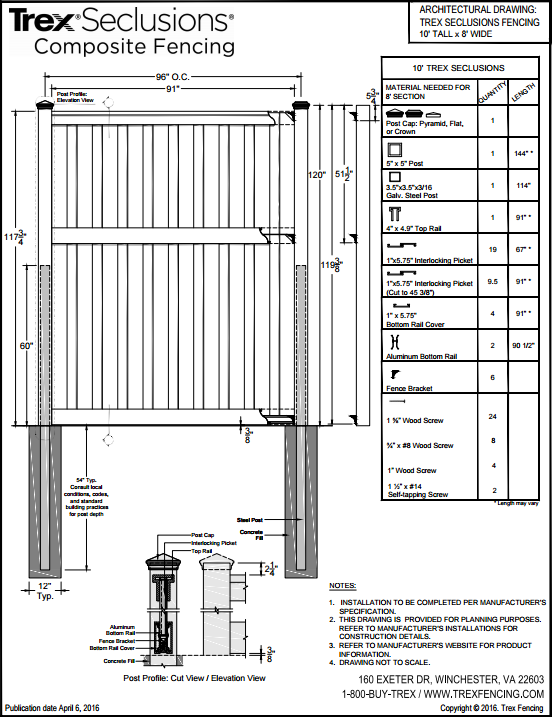 Shop Drawing of Fence