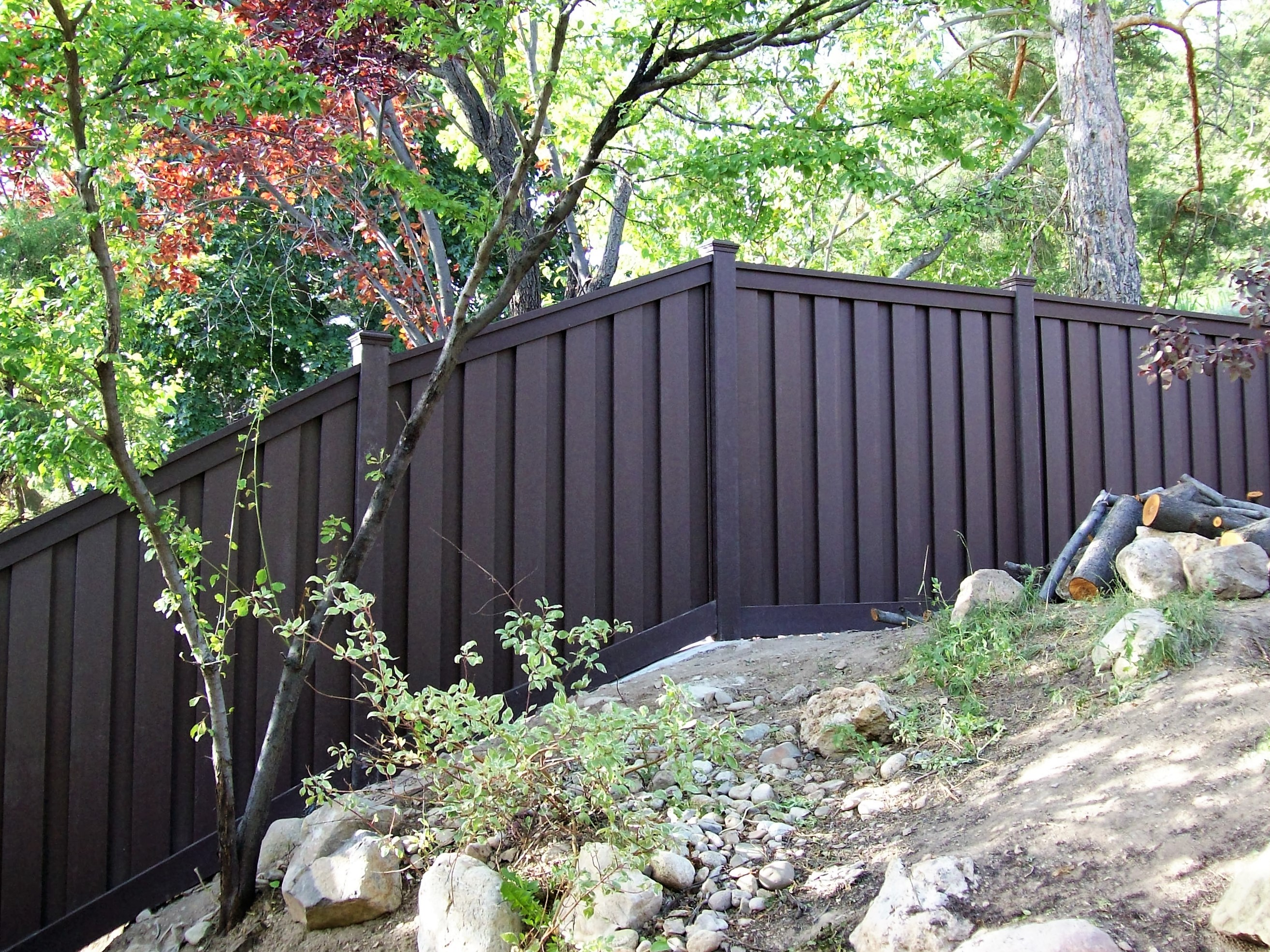 Trex fencing on a steep slope