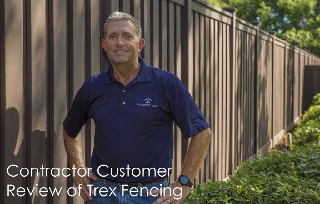 Hans Weber, fence contractor standing next to a completed Trex Fence