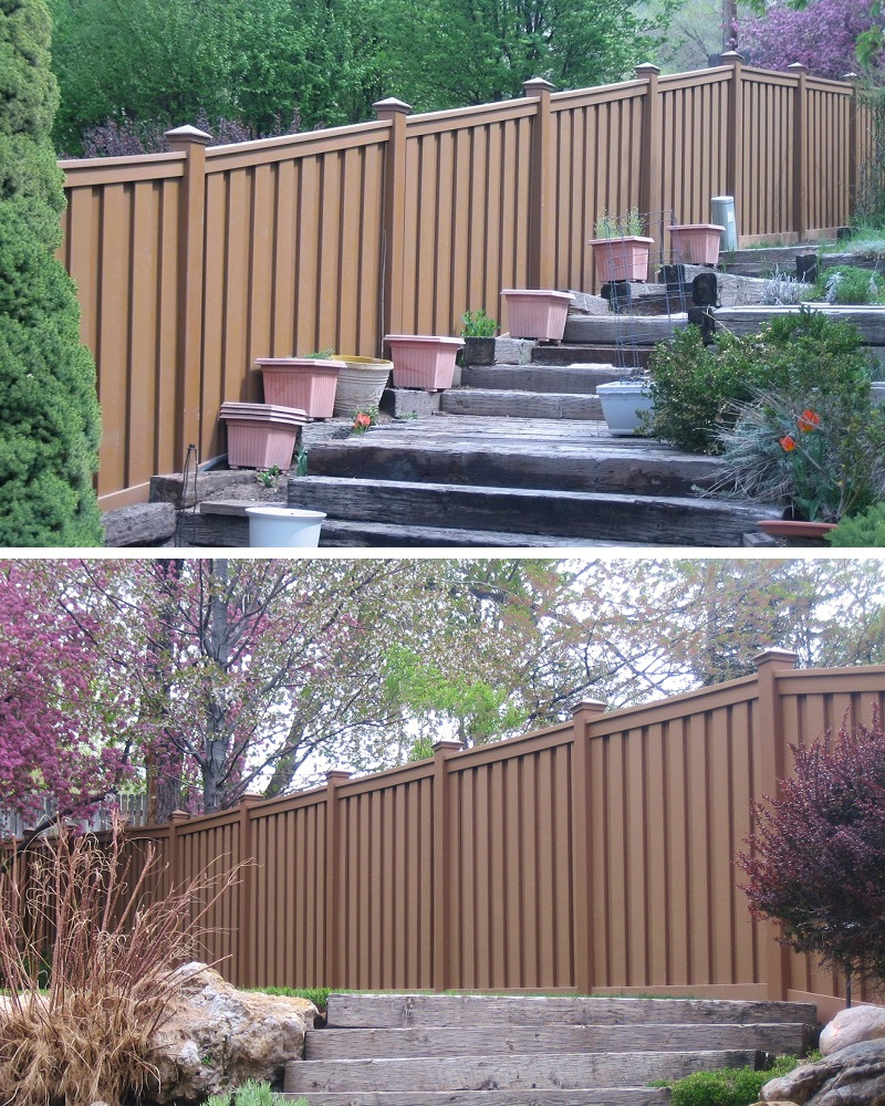 Alternative to stockade wood fencing trex composite