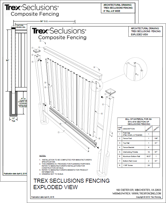 Technical Drawings of Trex Fencing