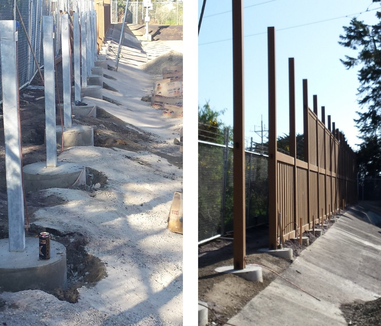 Steel posts embedded in concrete foundation for Trex Fencing posts