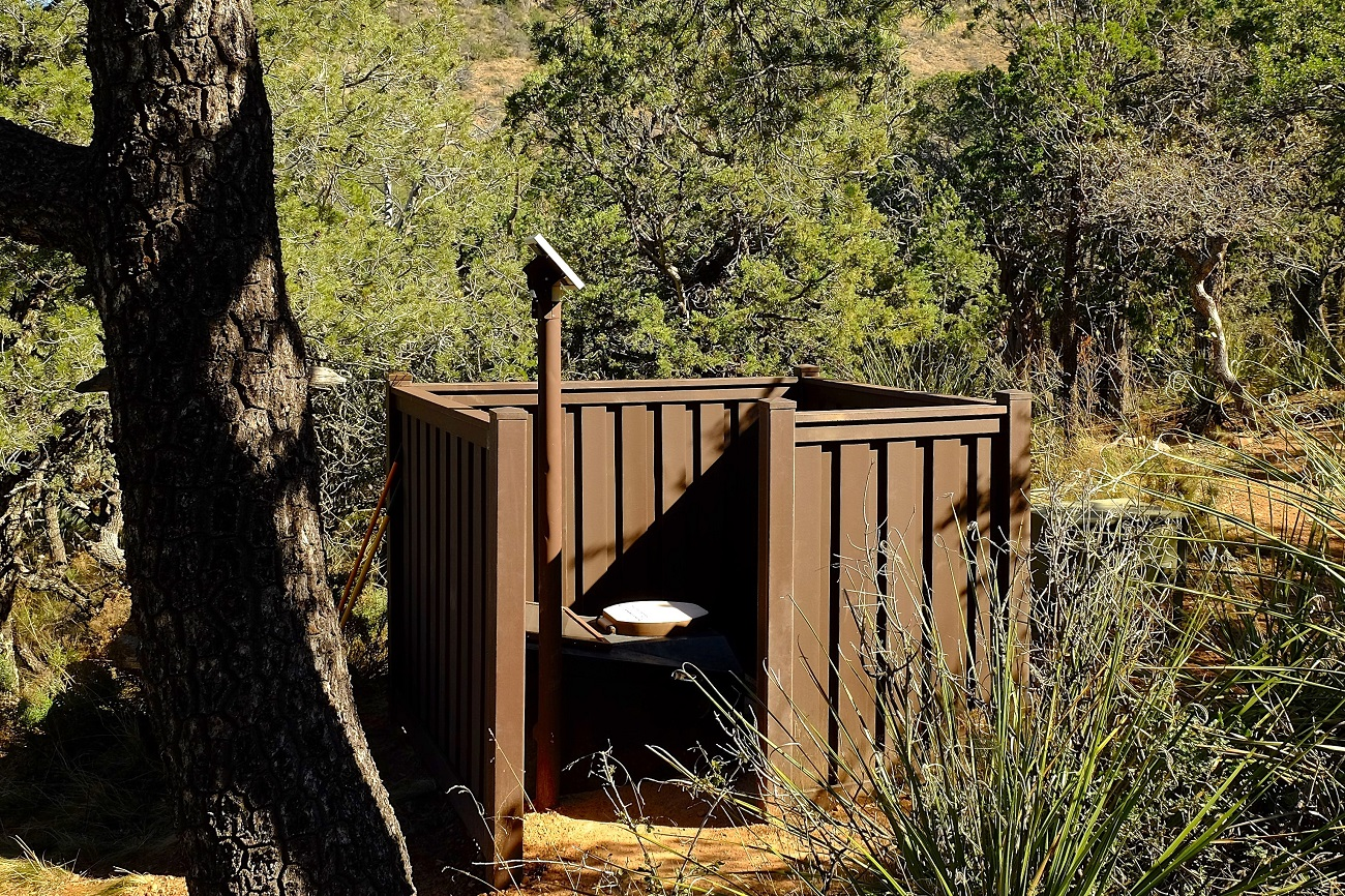 Big Bend National Park Composting Toilet Privacy Screen using Trex Fencing